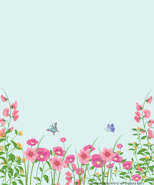 כרטיס ברכה עם פרפרים ופרחים