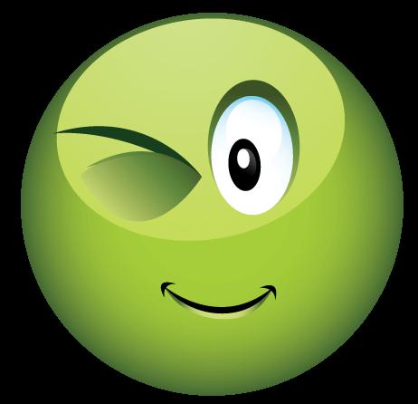 סמיילי ירוק קורץ