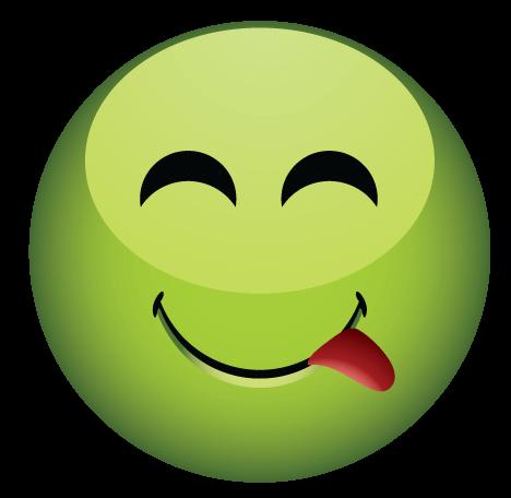 סמיילי ירוק מוציא לשון