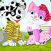 משחק פורים חמוד , הלבשת חתול וכלב , לחצו על הפרצוף למעלה לשנות להם את הפרצוף , ועל הבגדים לשנות להם