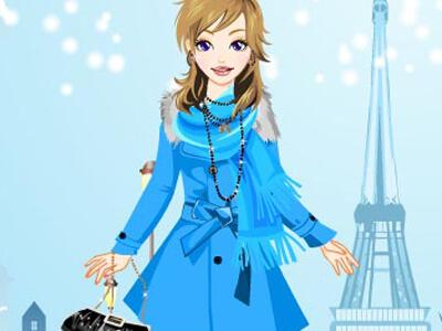 הלבשה לחורף בפריז , הלבישו את הבחורה עם בגדי חורף