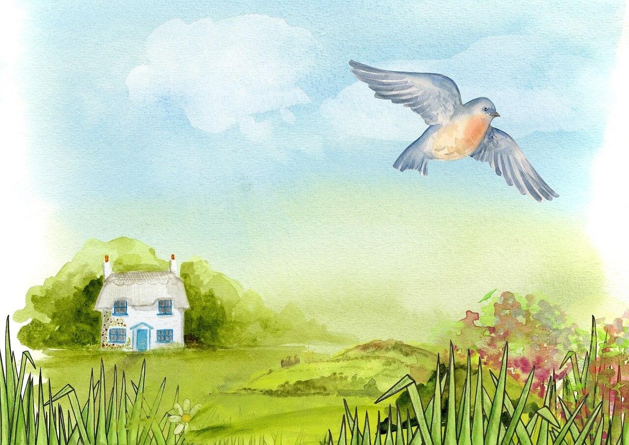 ציור של בית בטבע