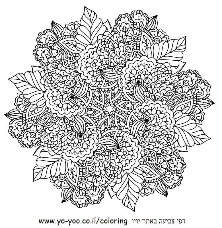 מנדלה פרחים דף צביעה