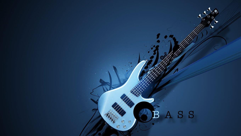 רקע כחול עם גיטרה