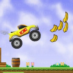 משחק מירוץ עם דונקי קונג בג'יפ , סעו ואספו בננות בדרך