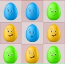 אתם צריכים להחליף בין 2 ביצים צבעוניות, כדי שיהיו 3 או יותר ביצים מאותו צבע ברצף.