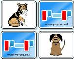 משחק זיכרון כלבים עם תמונות חמודות מצוירות של כלבים