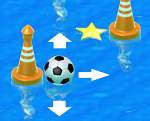 כוונו את הכדורגל לסוף השלב (exit) קחו כוכבים על הדרך  , הזיזו את הכדור על המים כך שיגיע לסוף השלב