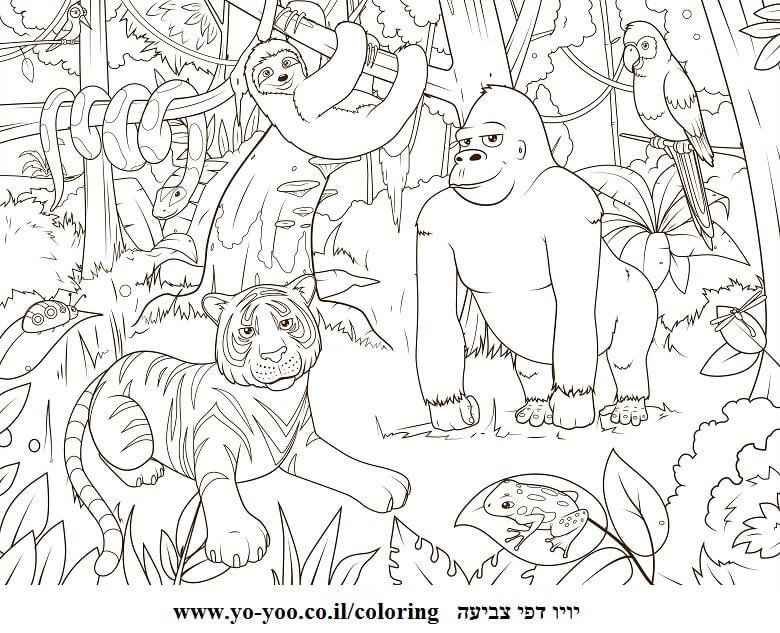 דף צביעה חיות ביער