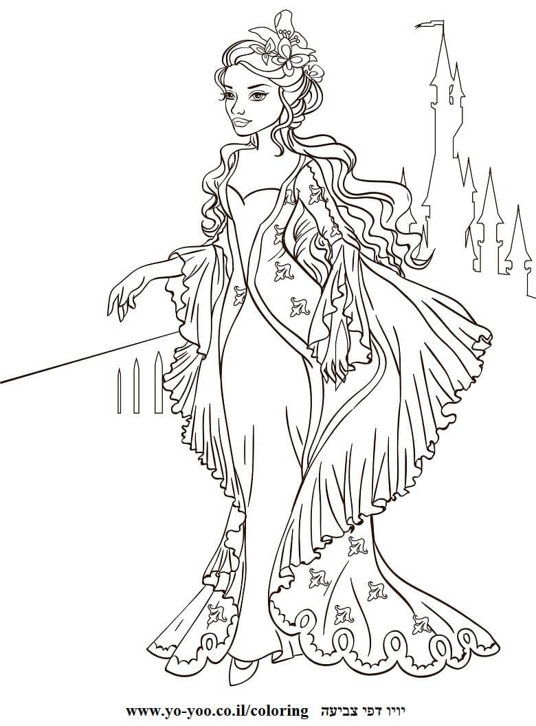 דף צביעה של נסיכה