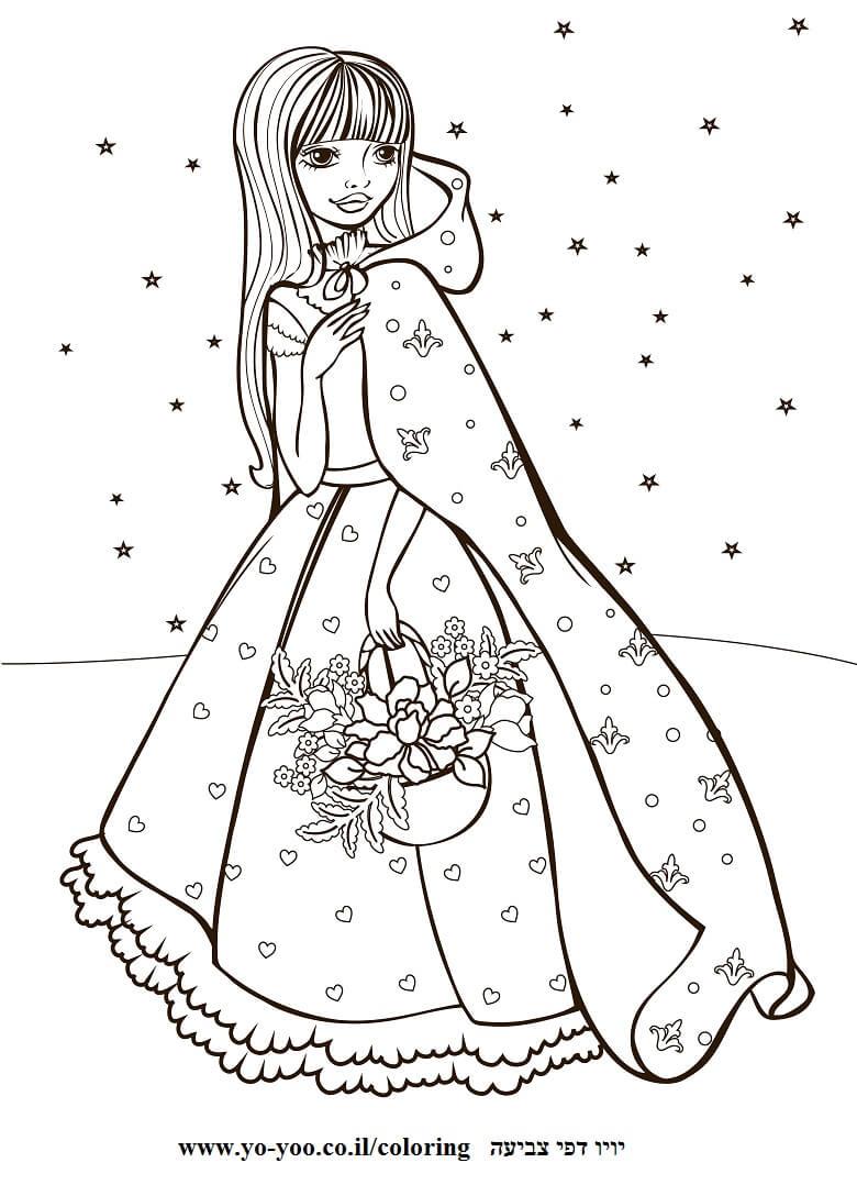 דף צביעה נסיכה בשלג