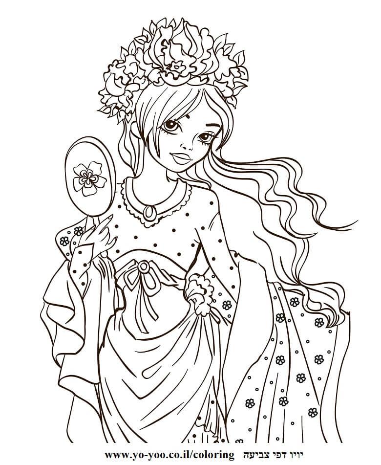 דף צביעה נסיכה יפה