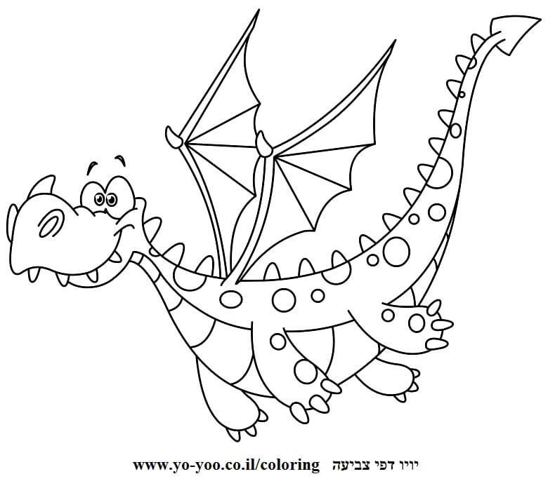 דף צביעה דרקון חמוד