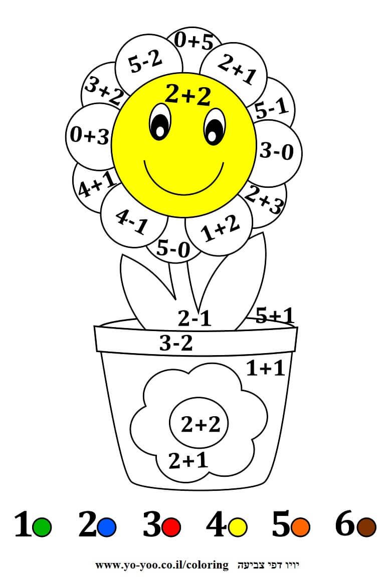 צביעה עם מספרים פרח