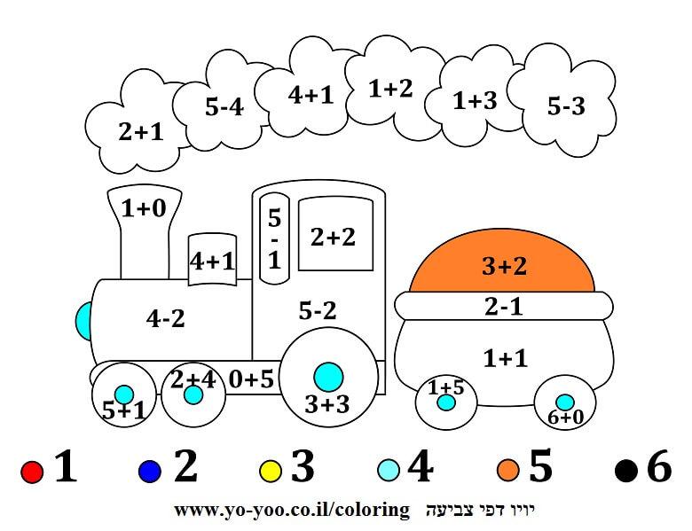 צביעה עם מספרים רכבת