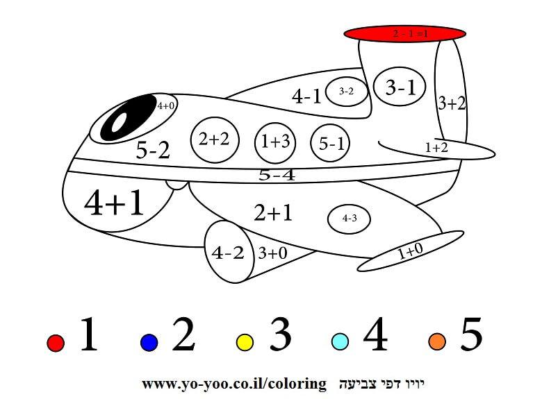 צביעה עם מספרים מטוס