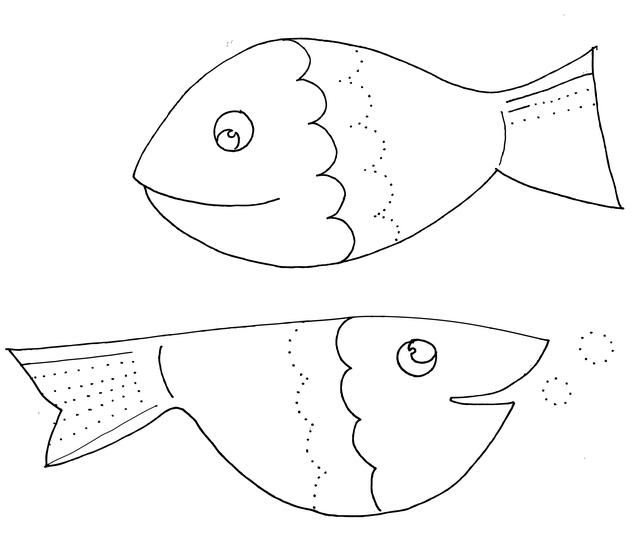 דף צביעה של דגים
