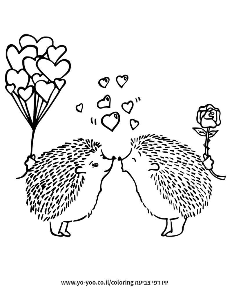 דף צביעה קיפודים מאוהבים