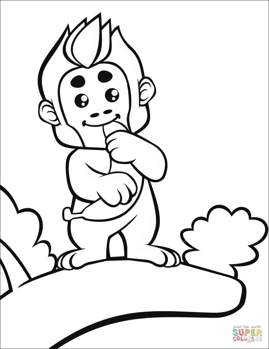 קוף קטן על עץ לצביעה