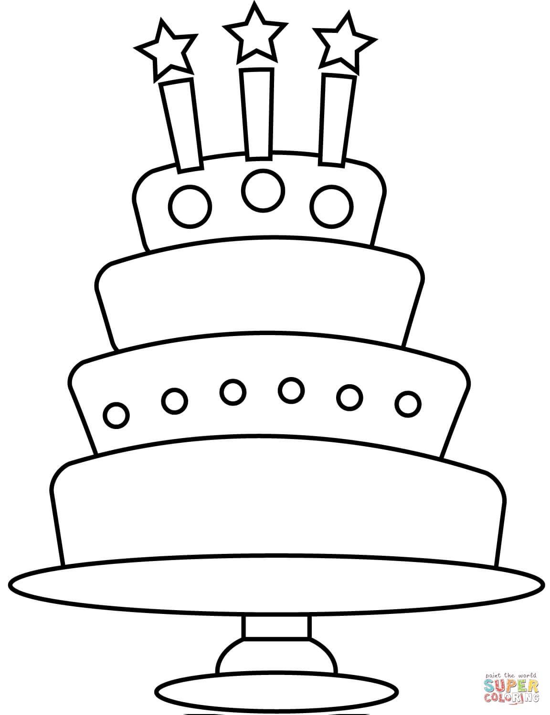 עוגה מצוירת לצביעה