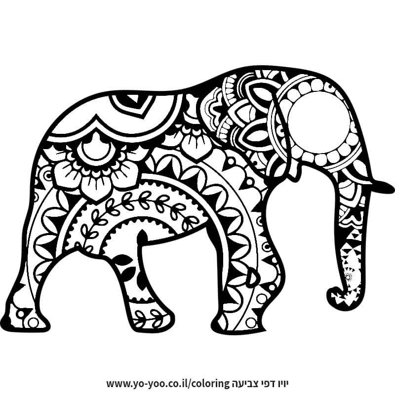 דף צביעה פיל מנדלה