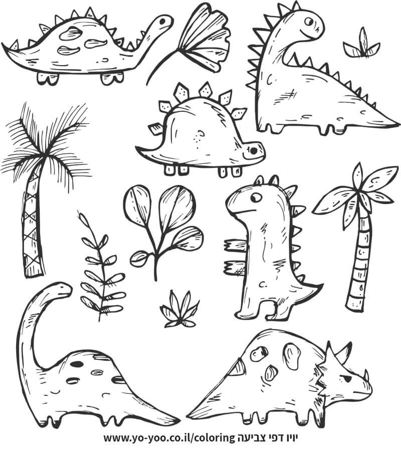 דף צביעה דינוזאורים