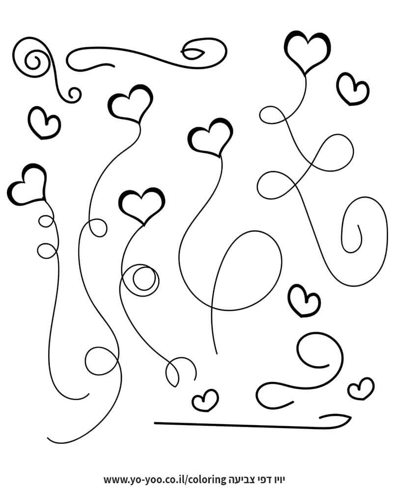 דף צביעה בלונים לבבות