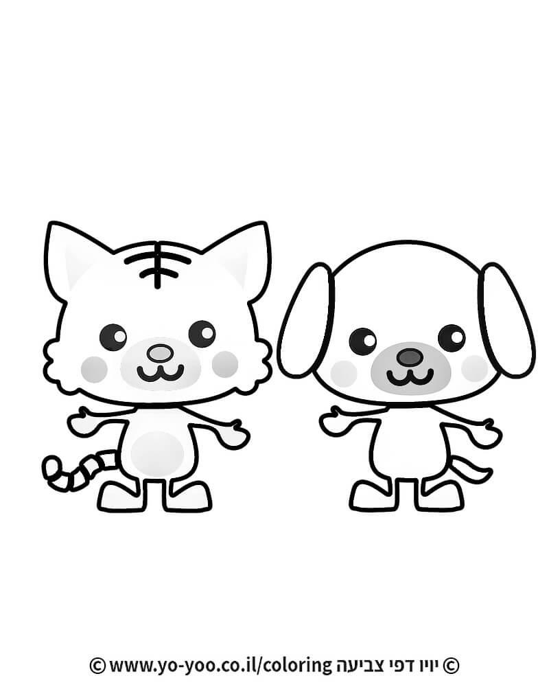 דף צביעה כלב ושועל חמודים