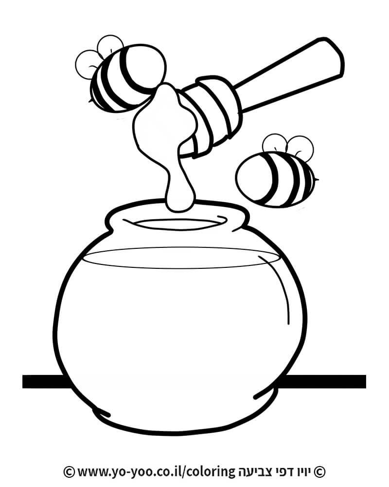 דף צביעה צנצנת דבש