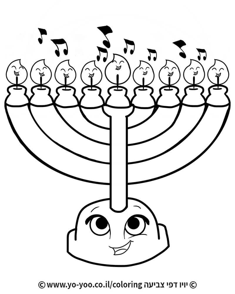 דף צביעה חנוכייה מזמרת