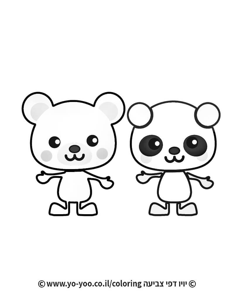 דף צביעה דובים חמודים