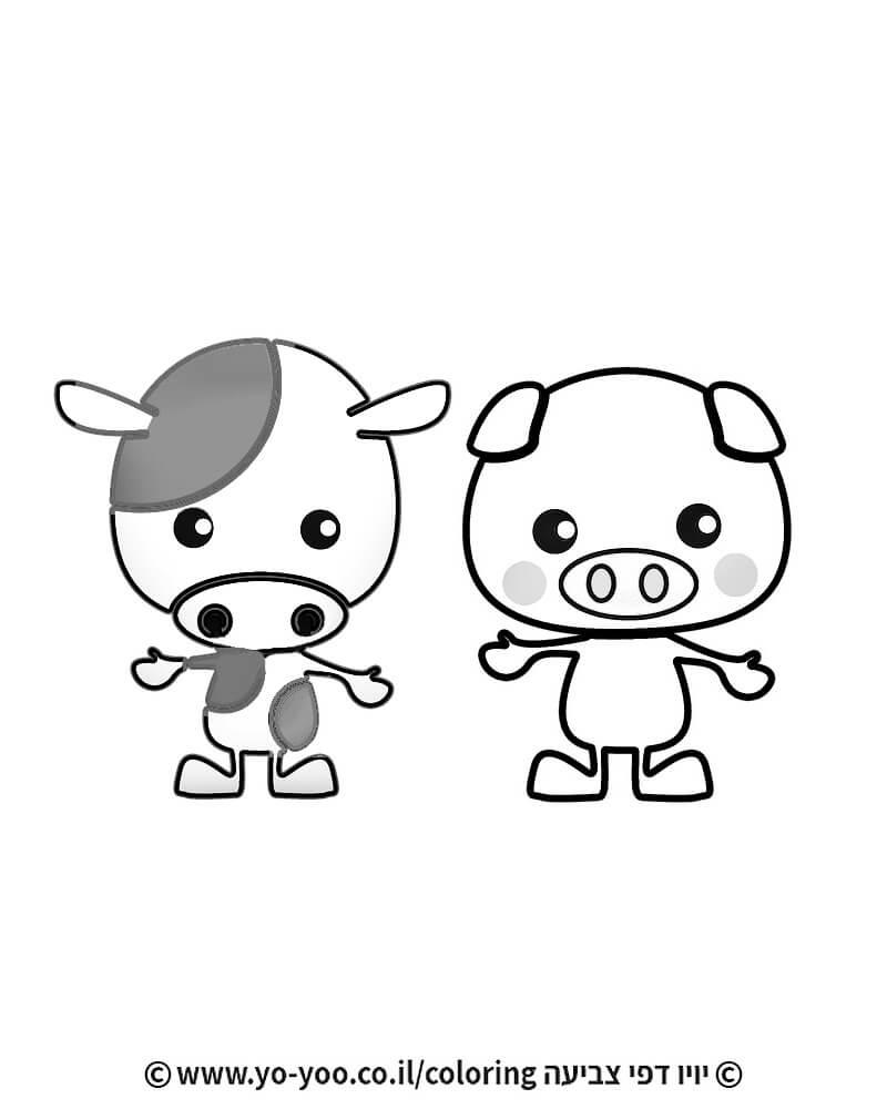 דף צביעה חזיר ופרה חמודים