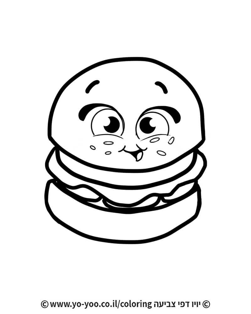 דף צביעה המבורגר מצויר