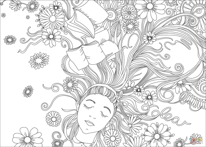 עליסה עם פרחים לצביעה