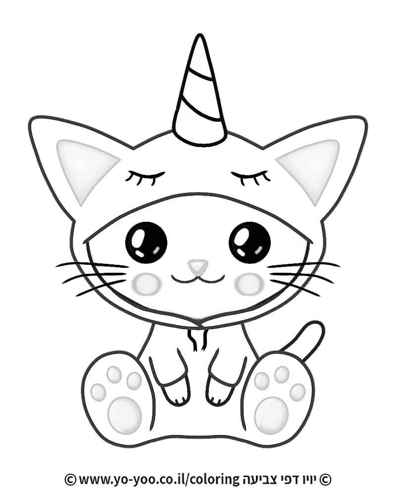 דף צביעה חתול חד קרן