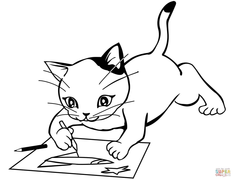 חתול מצייר לצביעה