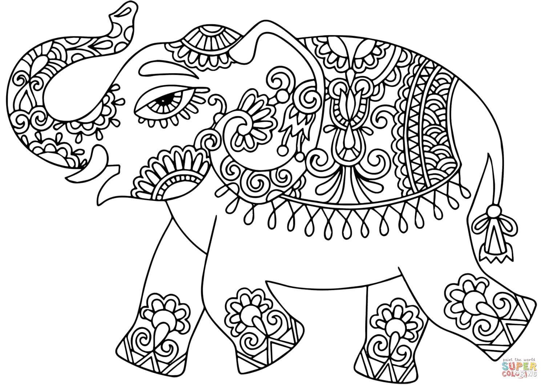 פיל עם עיטורים לצביעה