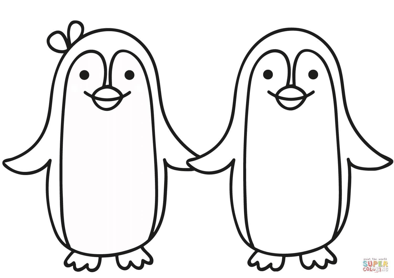 זוג פינגווינים  לצביעה
