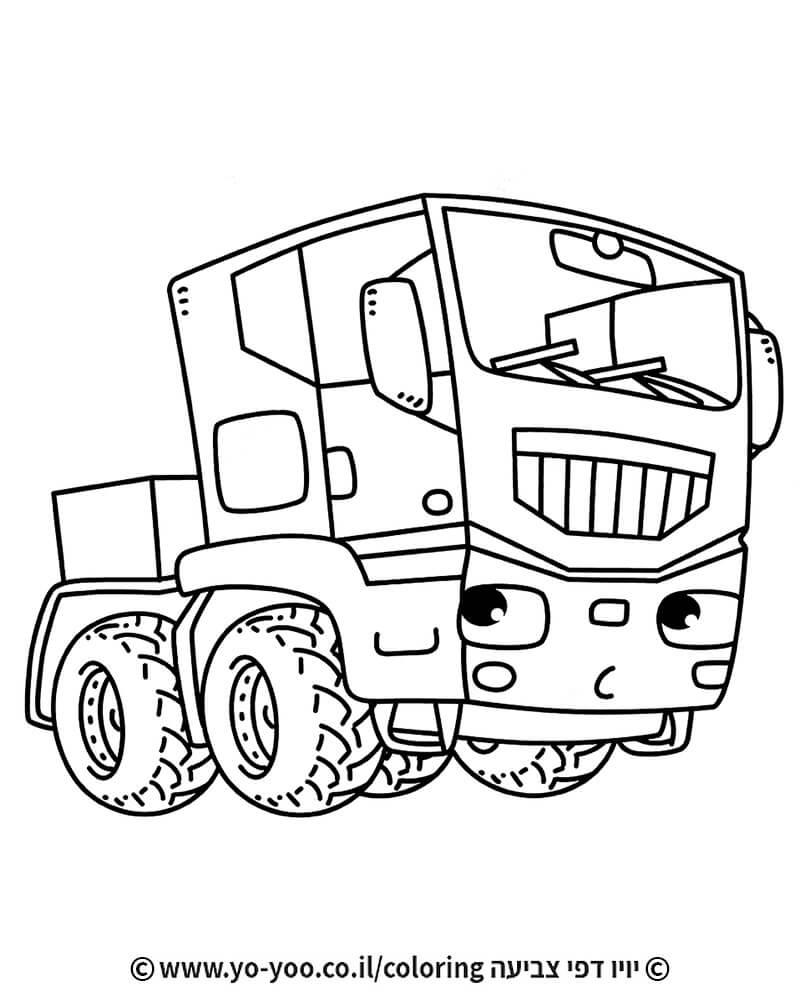 דף צביעה משאית מצוירת