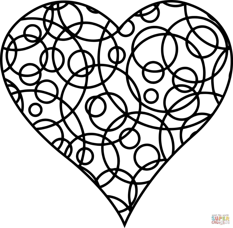 לב עיגולים לצביעה