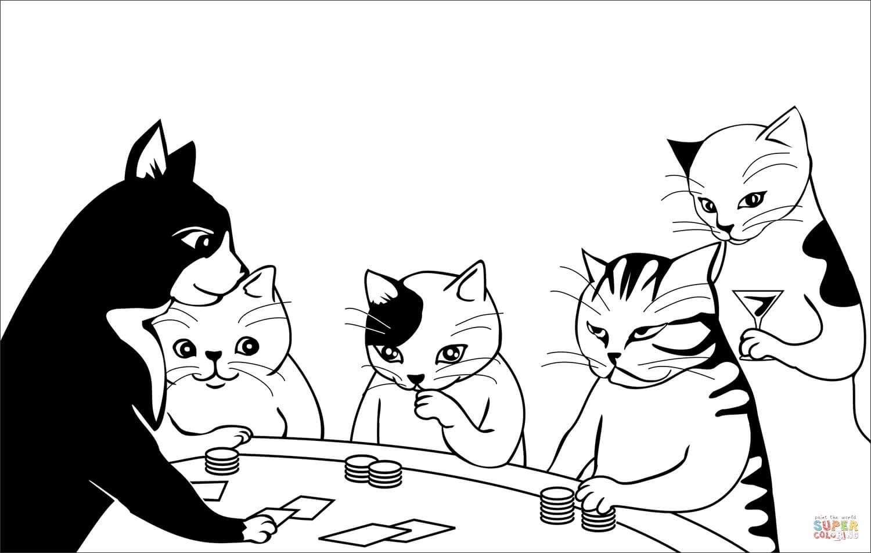 חתולים משחקים קלפים לצביעה
