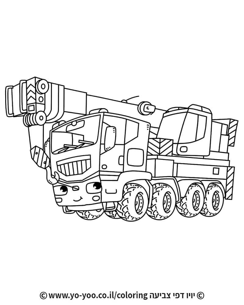 דף צביעה משאית מנוף