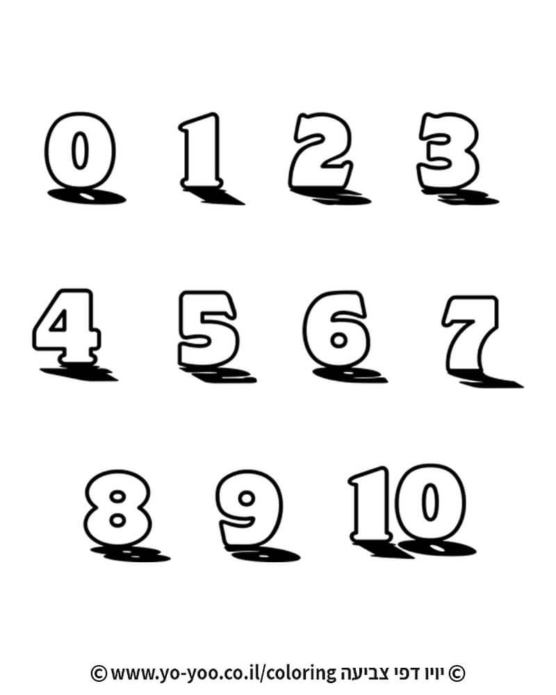 צביעת מספרים 1-10