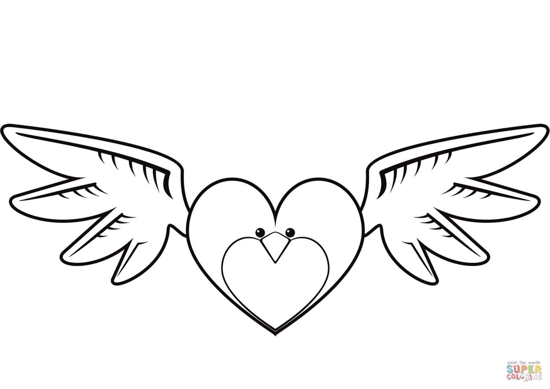 לב עם כנפיים לצביעה