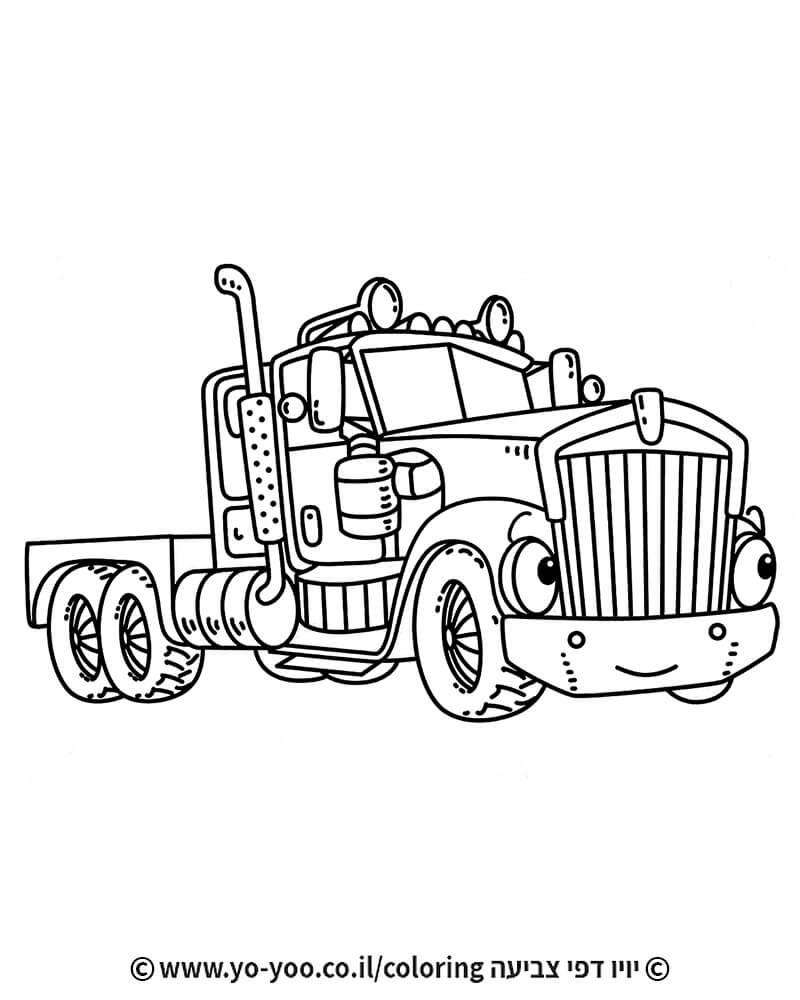 דף צביעה משאית עם פנים