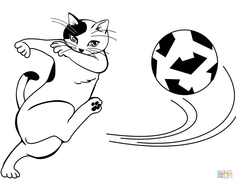 חתול משחק כדורגל לצביעה