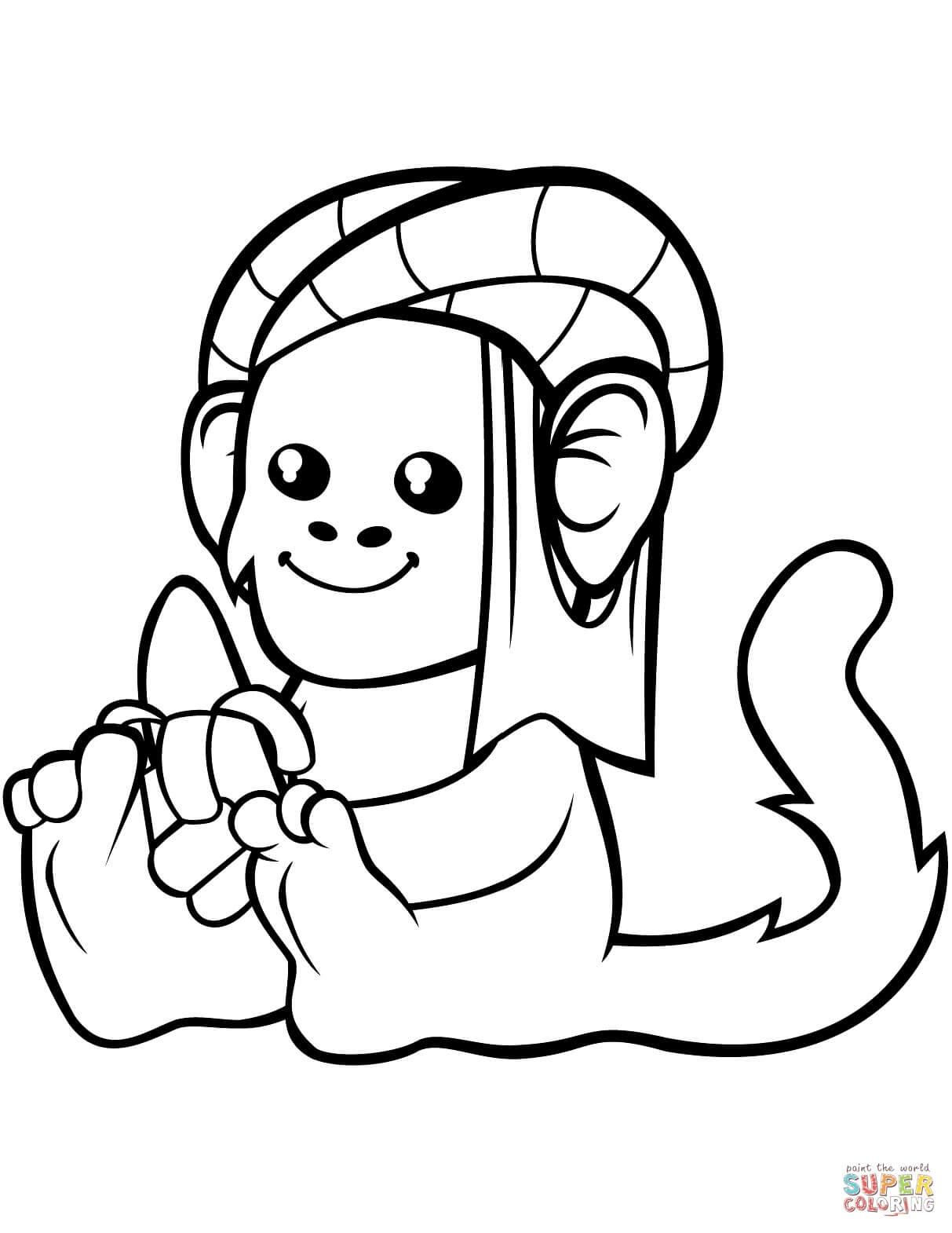 קוף עם בננה לצביעה
