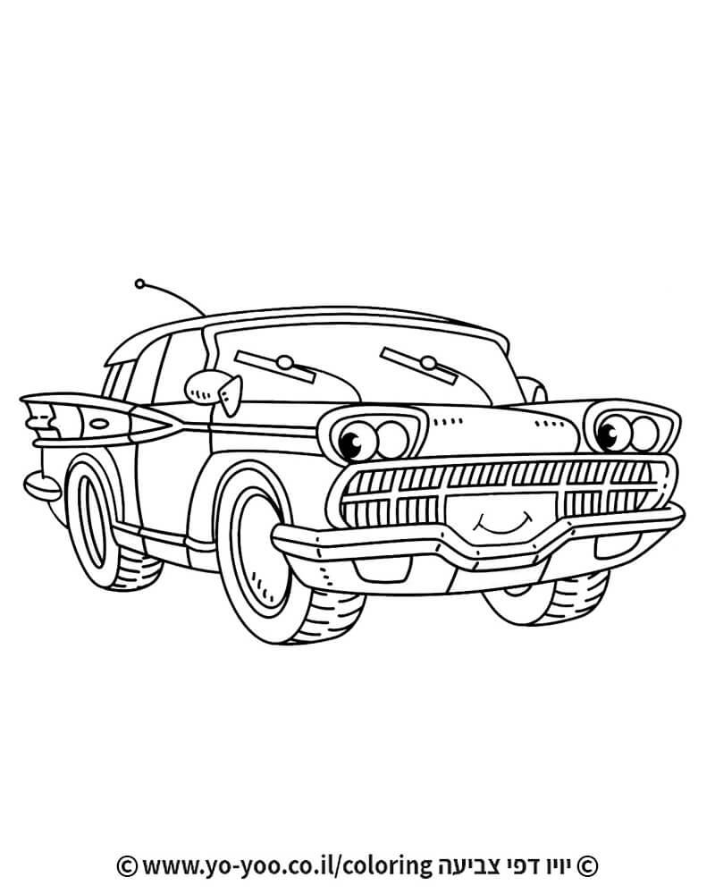 דף צביעה מכונית חמודה