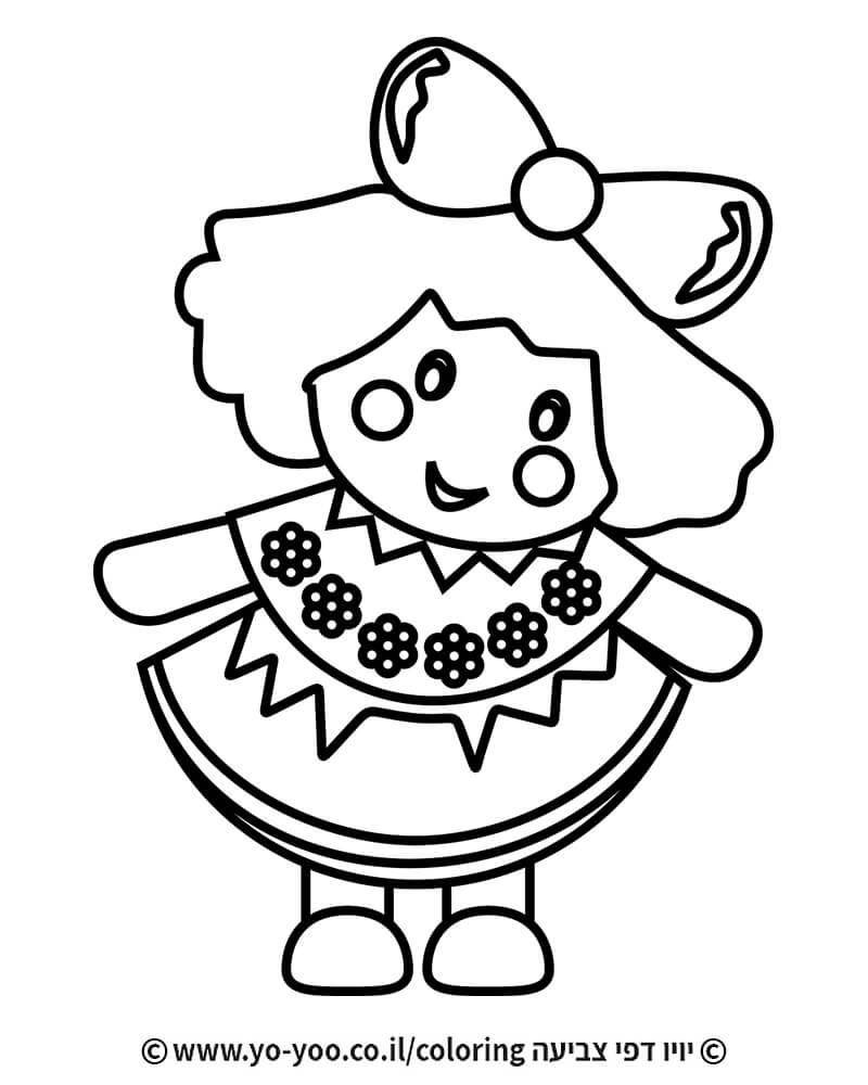 דף צביעה בובה
