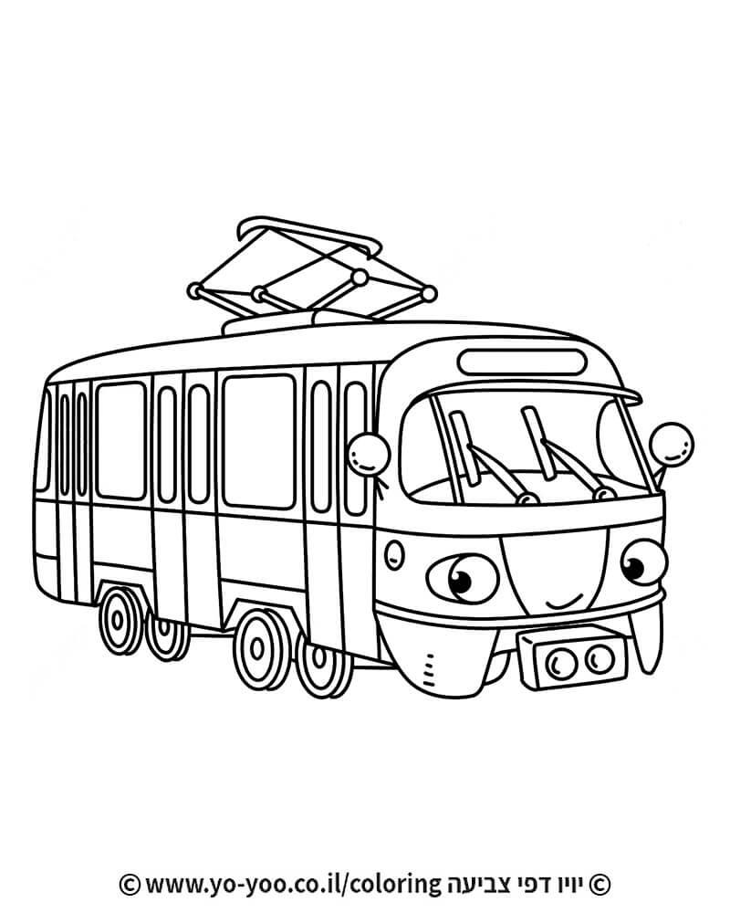 דף צביעה רכבת חשמלית